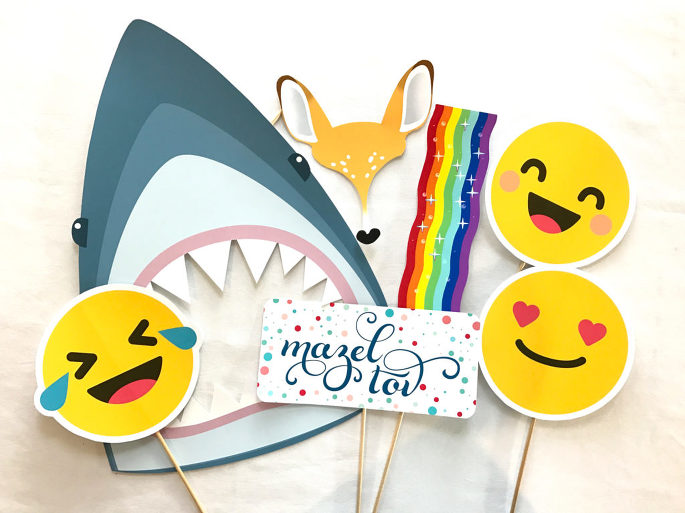wink! photo booth custom emoji and snapchat props at a bat mitzvah